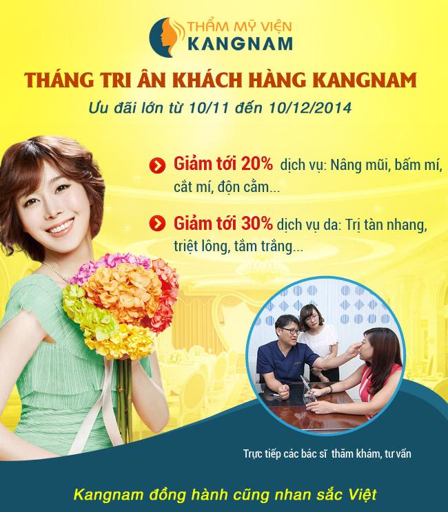 """Tháng """"Tri ân khách hàng"""" Kangnam – Giảm 30% Trị nám da"""